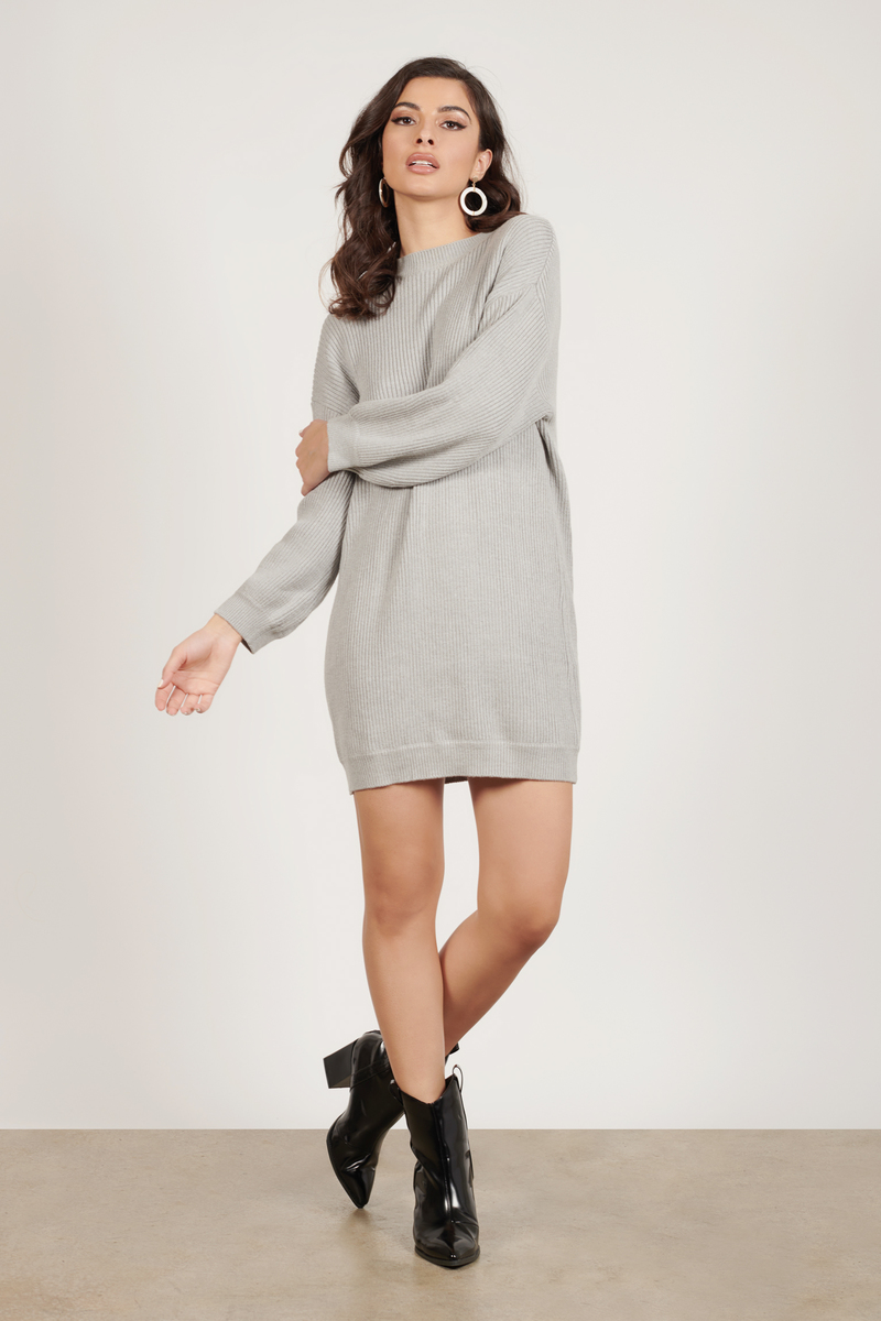 732312f00 Grey Casual Dress - Sweater Dress - Grey Crew Neck Dress -  38