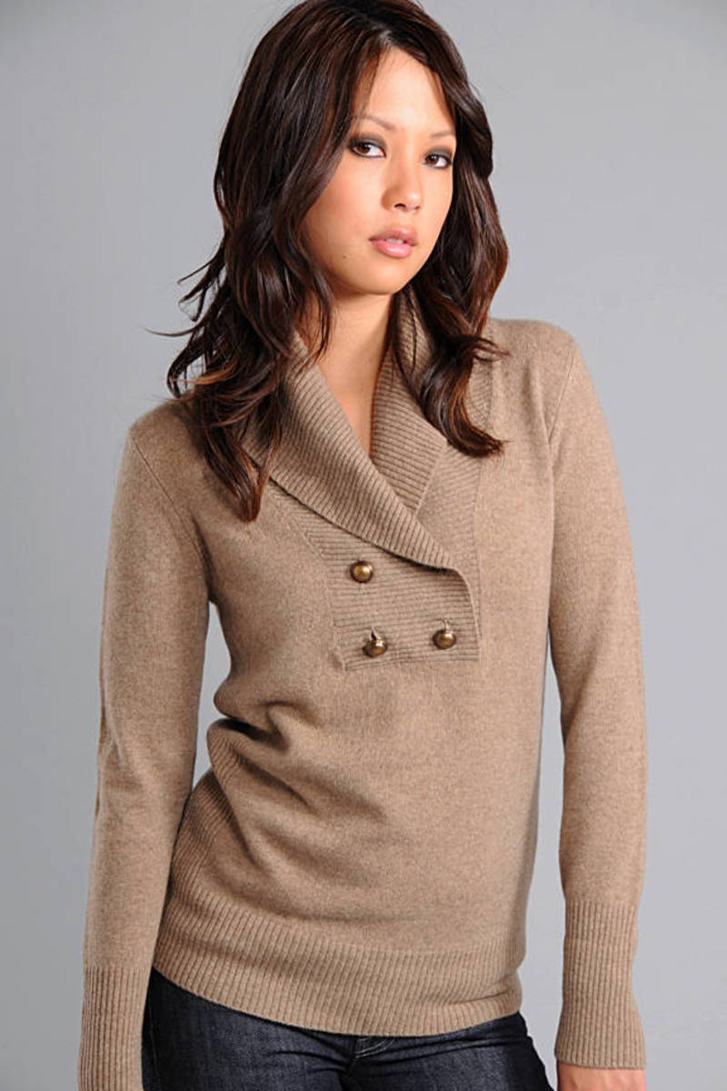 b23a8458efa92 Brown Sweater - Joie Dressy Sweater - Front Button Brown Sweater ...