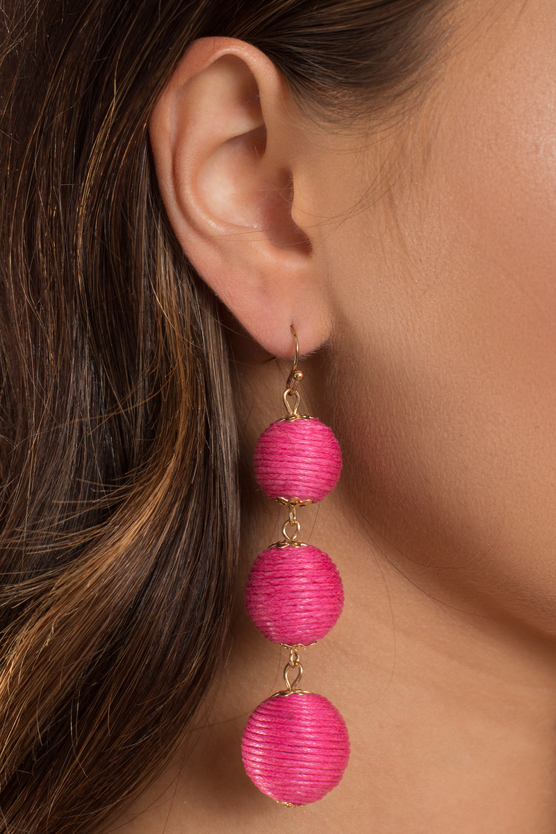 Don T Drop The Ball Hot Pink Earrings