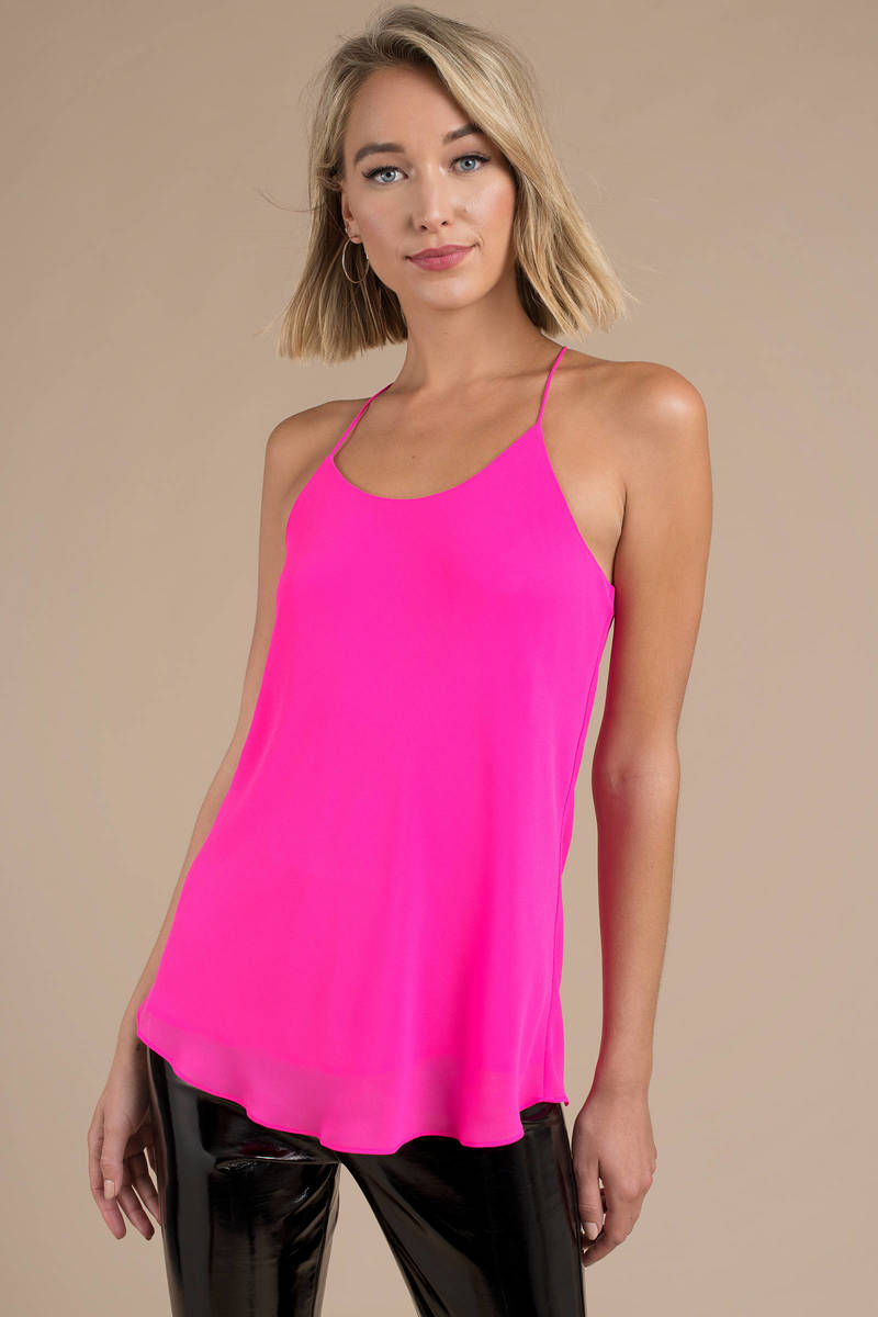 wholesale online look for hot product Pink Tank - Neon Tank Top - Pink Going Out Cami - Racerback Tank ...