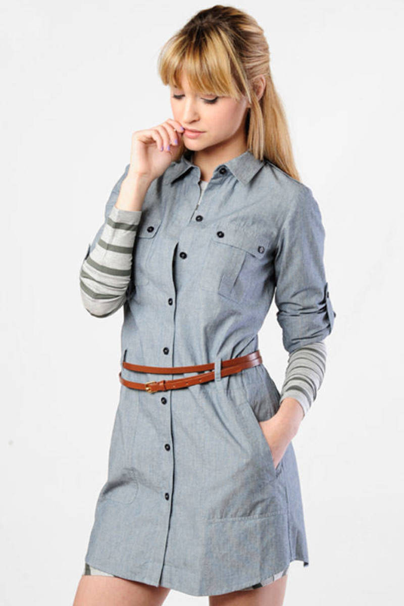 Cute Blue Shirt Dress Button Down Dress Chambray Dress 118