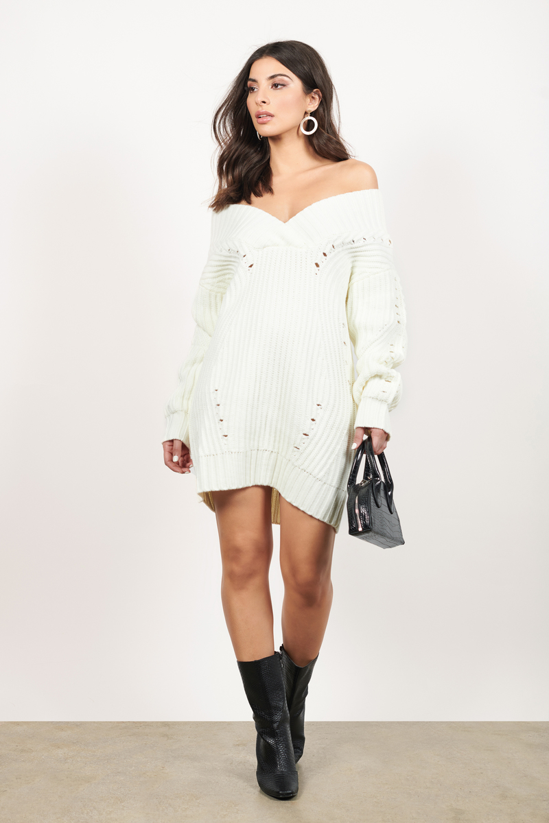f97f83d8eb2386 White Sweater Dress - V Neck Sweater Dress - White Chunky Knit ...
