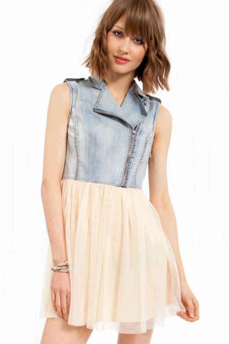 Tori Spells Denim Tulle Dress