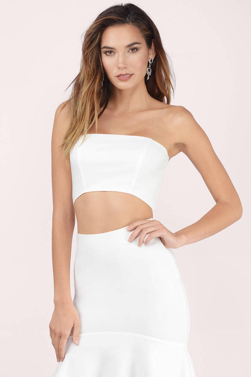 361a70caabea08 Cute White Crop Top - Strapless Top - White Top - Ivory Crop Top - C ...