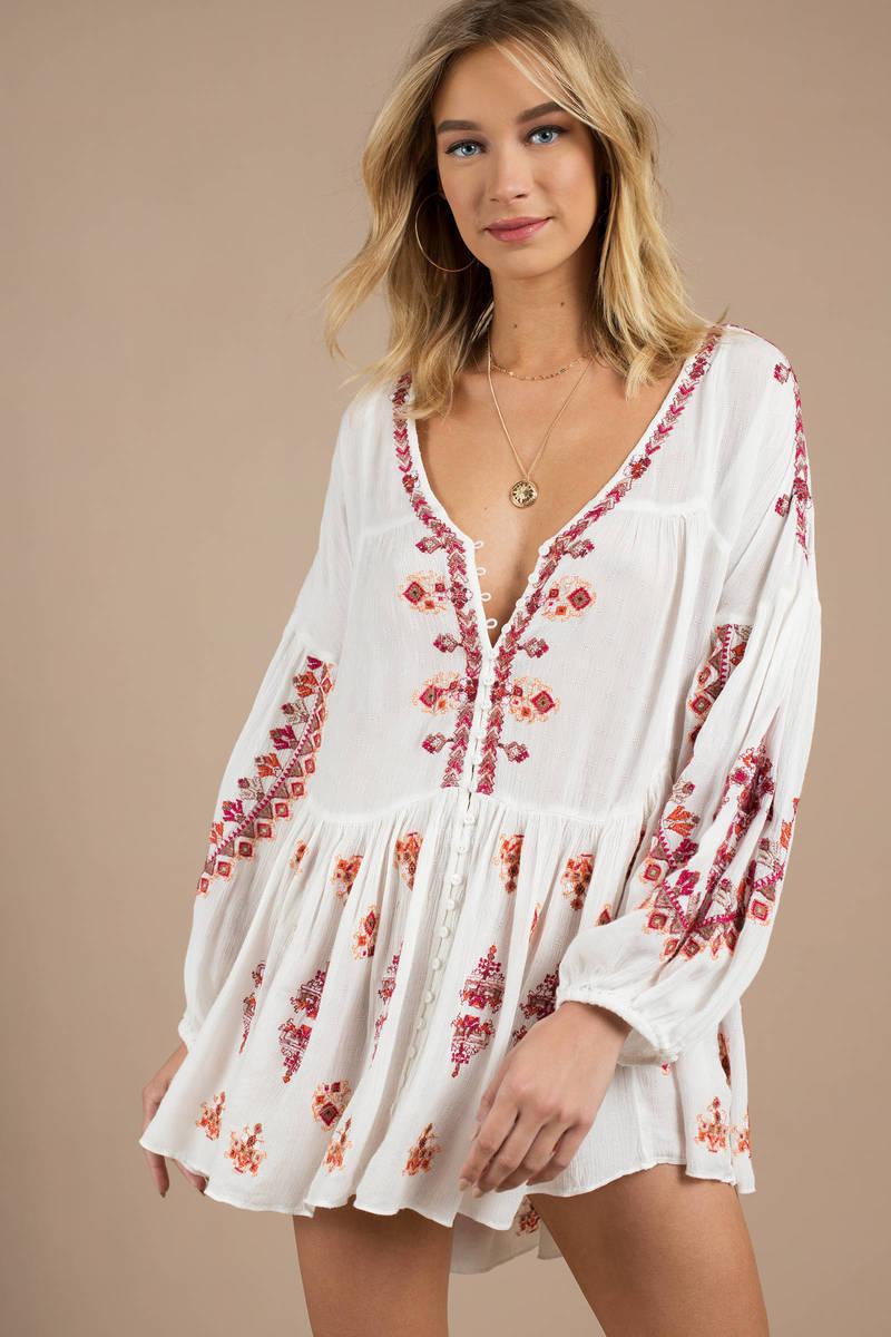 db753578efb White Blouse - Long Sleeve Tunic Top - White Geometric Blouse - $148 ...