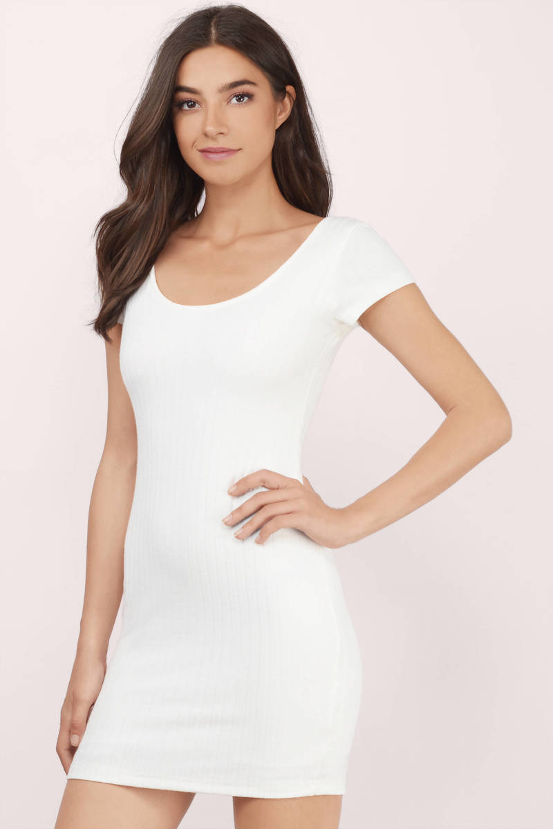 36f54ca5dbb1 White Dress - Ribbed Dress - U Neck Dress - Bodycon Dress -  15 ...