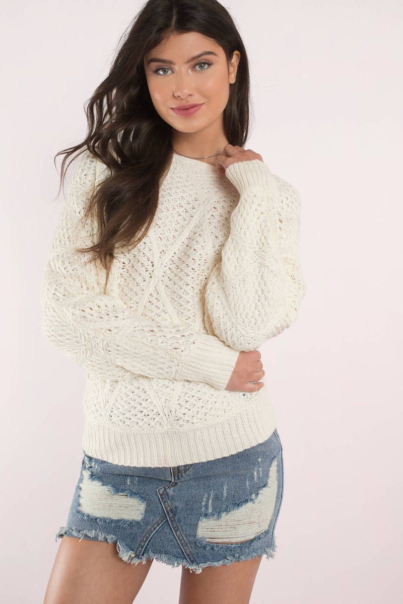 Moon River Moon River Becca Ivory Waffle Knit Sweater