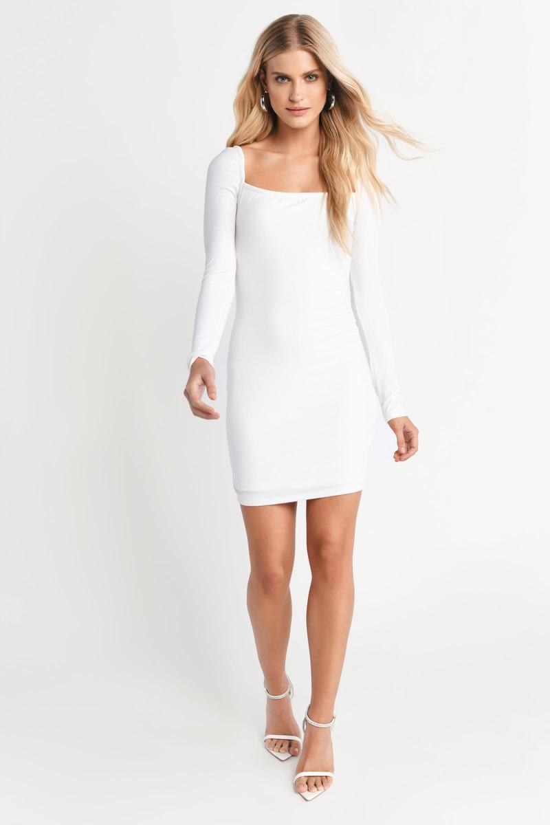 80a77f59c825 White Bodycon Dress - Chic Bodycon Dress - White Ribbed Dress - $28 ...