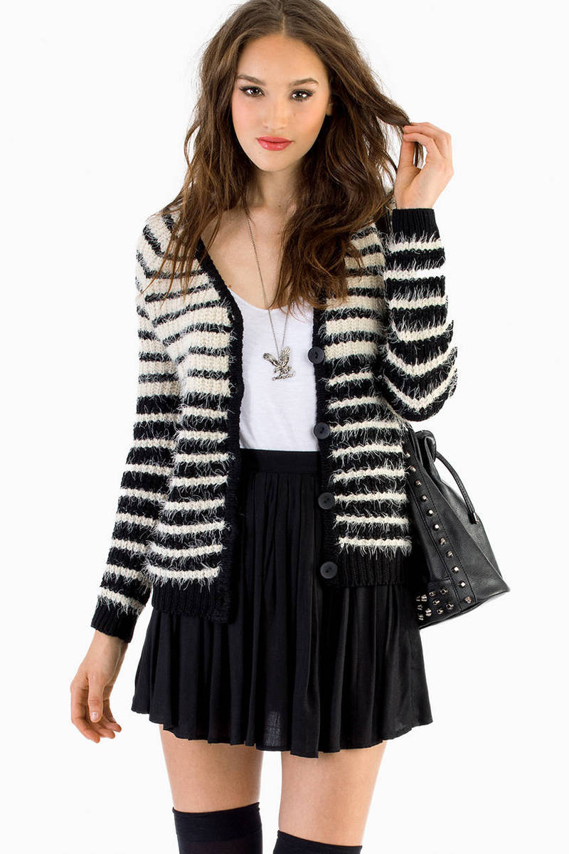 Line Me Up Ivory & Black Sweater