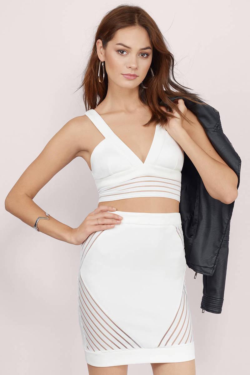 Ivory Bodycon Dress - Ivory Dress - 2-Piece Dress - Ivory Bodycon ...