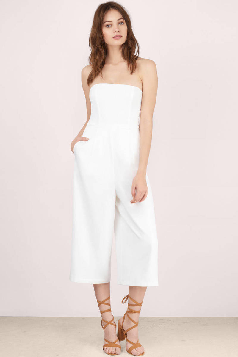 fce194537ae1 White Jumpsuit - Wide Leg Jumpsuit - High Waist Jumpsuit -  22