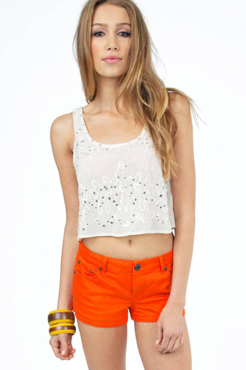 Brianna Ivory Sequin Tank Top