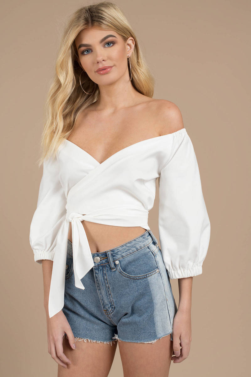 1f71db2f97 White Finders Keepers Crop Top - Off Shoulder Top - White Wrap Top ...