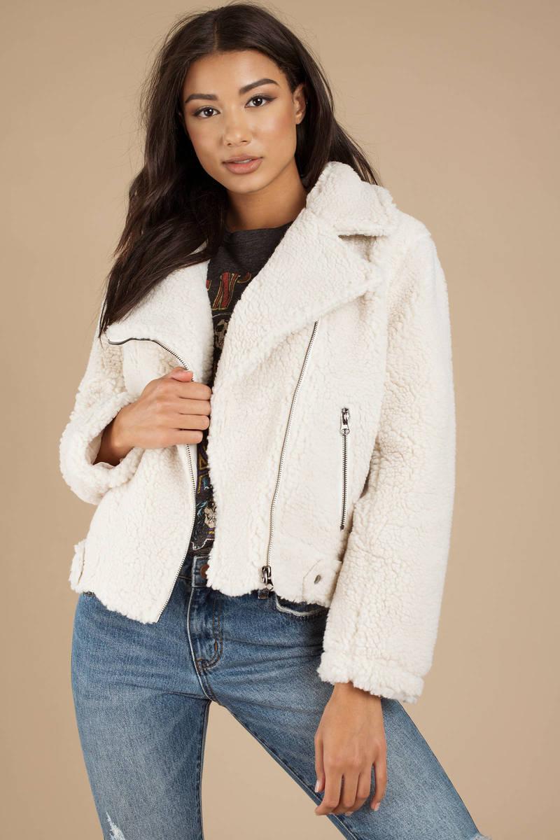 9bf98ce8 White Astr Jacket - Moto Jacket - White Shearling Jacket - C$ 161 ...