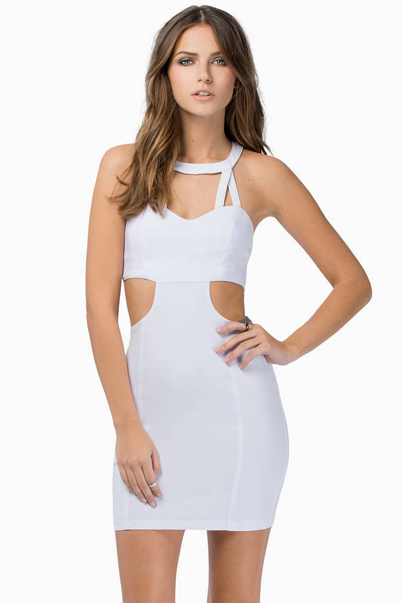 Caged In Ivory Side Cut Out Bodycon Dress