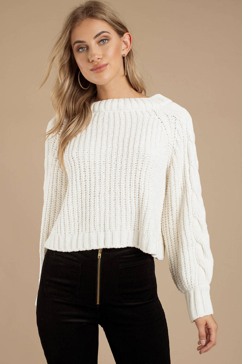 bbe944b0a2 White Sweater - Cropped Knit Sweater - White Chenille Sweater -  38 ...