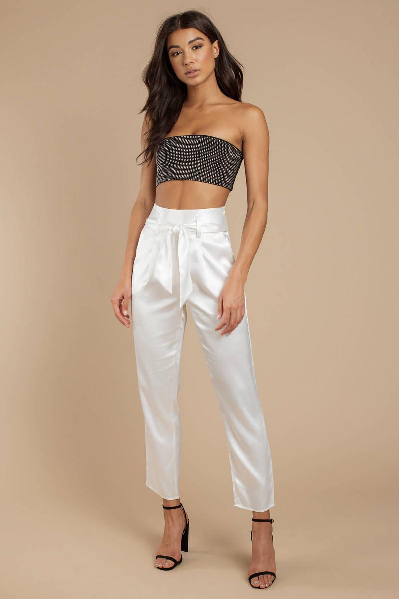 c0ff4ddca White Satin Cigarette Pants - Tie Waist Trousers - White Satin ...