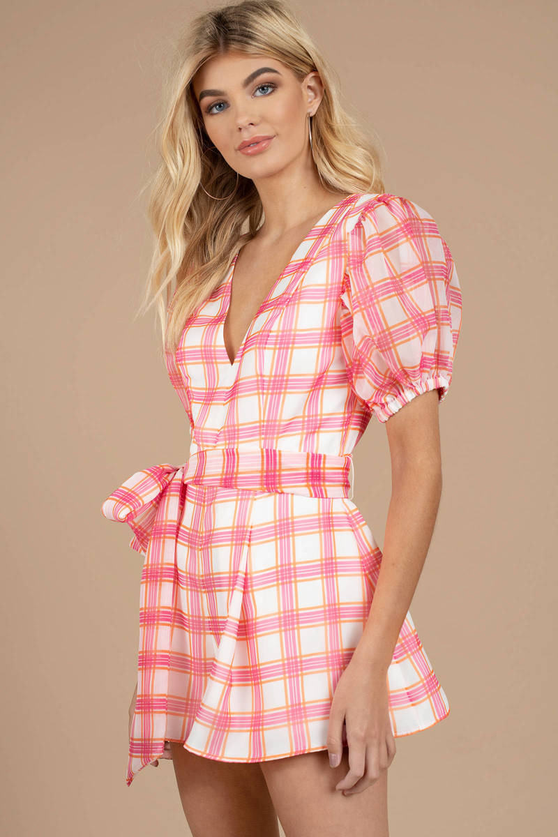 12cd61f6ee5 Pink Cameo Romper - Balloon Sleeve Romper - Pink Playsuit - Plaid ...