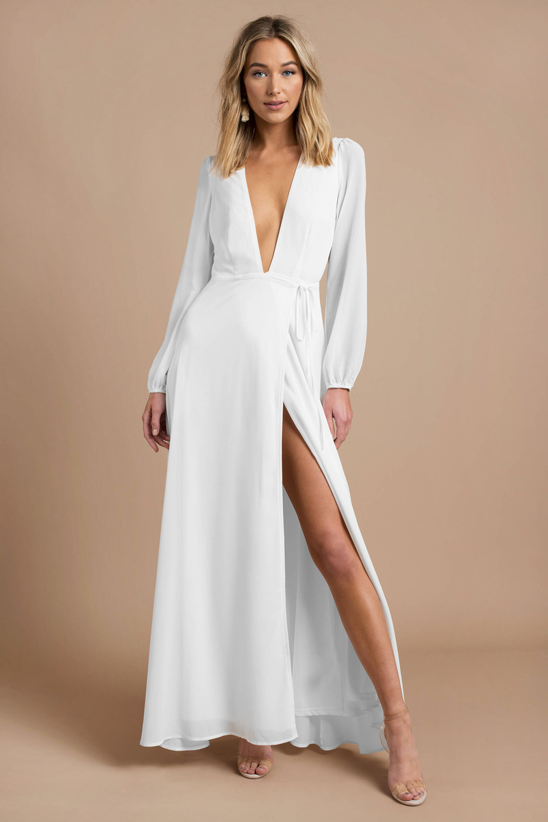 Pretty White Maxi Dress - Long Sleeve Dress - Elegant White Maxi ... 8a106a946