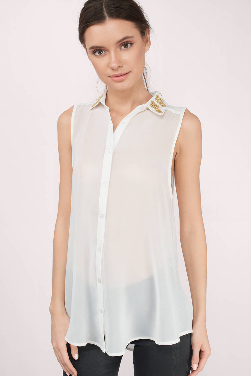 Cross My Collar Ivory Tank Shirt