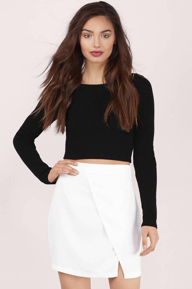 Desiree Ivory Surplice Mini Skirt