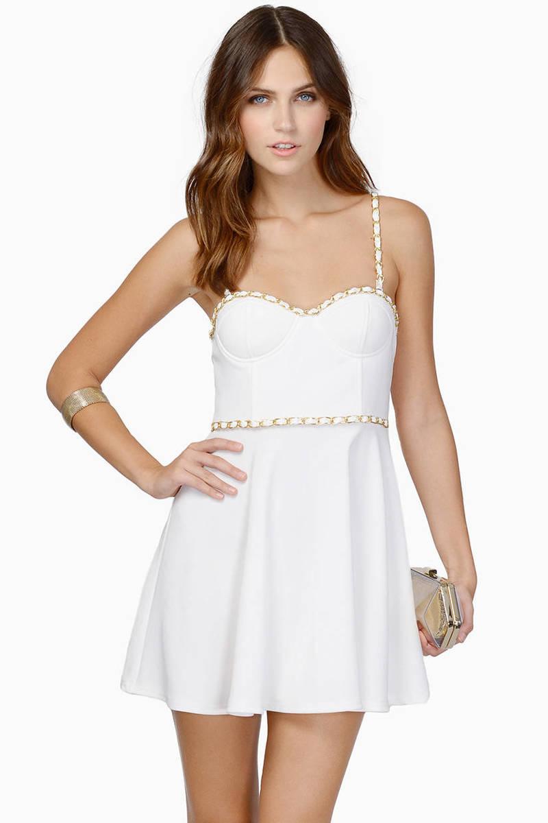 Cute Ivory Skater Dress - White Dress - Bustier Dress - $15.00