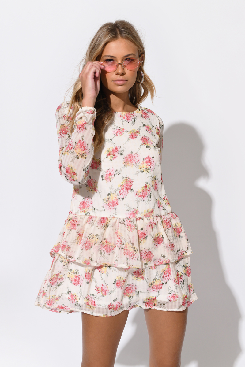Call My Lover Ivory Floral Chiffon Print Shift Dress