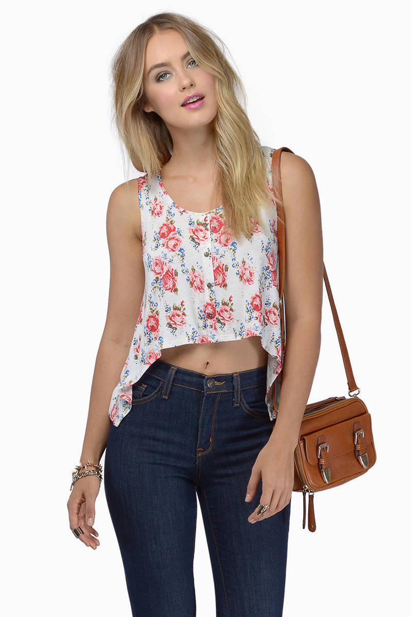 Home Again Ivory Floral Tank Top