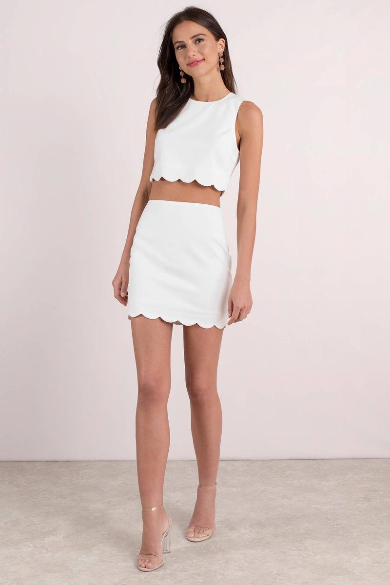 3b3bce901bf Trendy White Bodycon Dress Set - Bar Dress - White Two Piece Dress ...