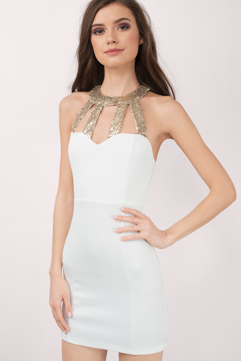 Free Flight Ivory Gold Sequin Bodycon Dress