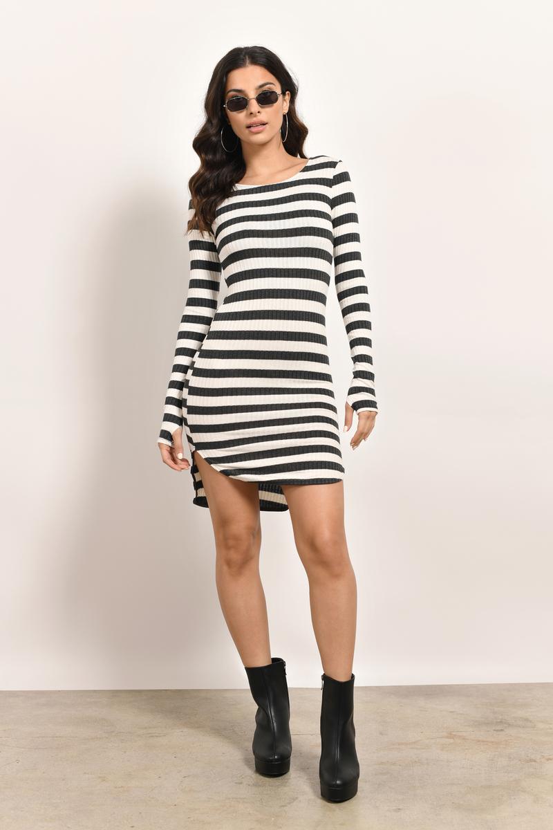 Jailbreak Ivory & Grey Striped Bodycon Dress