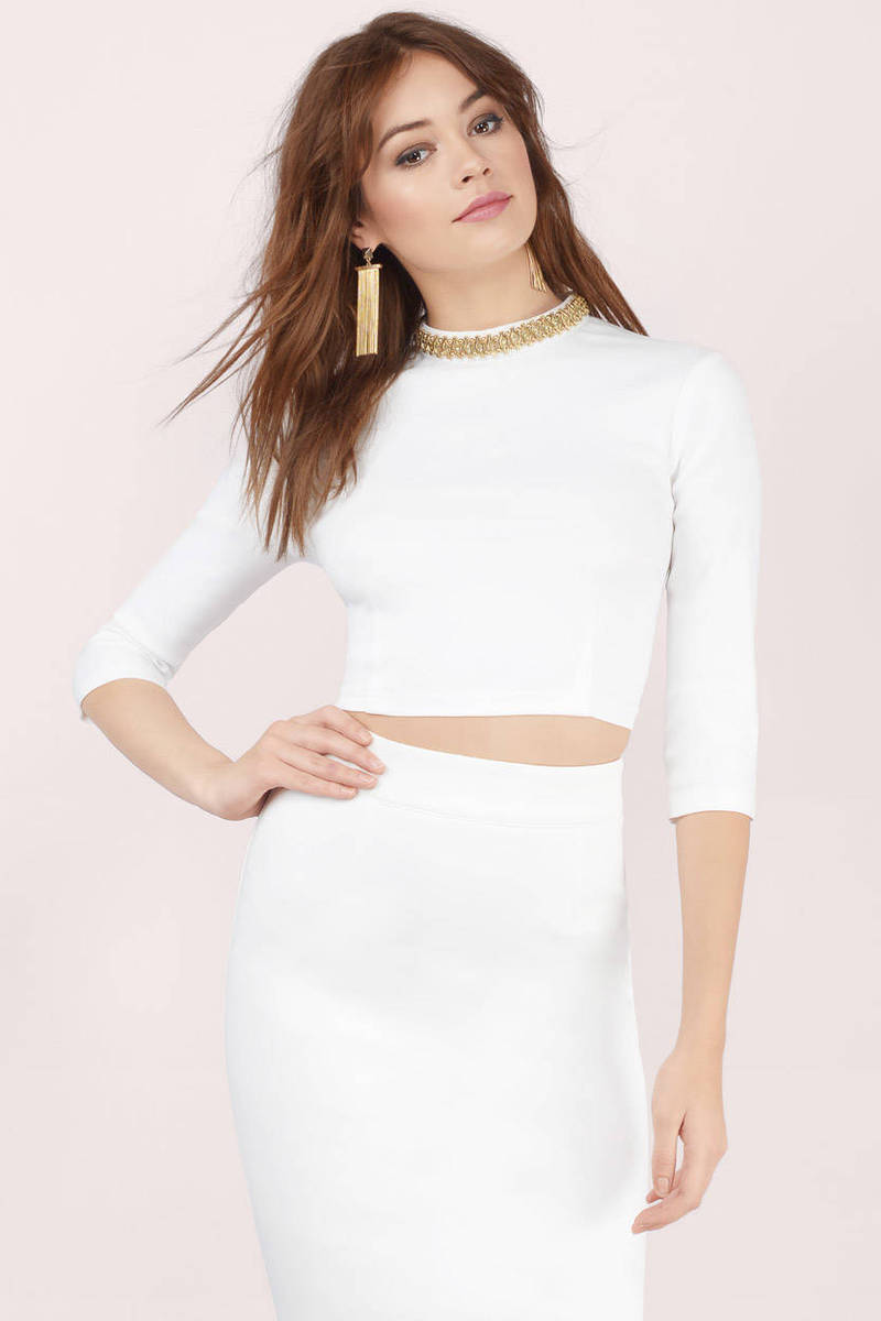 80cb8b8ddfa6f Cheap Ivory Crop Top - Ivory Top - Embellished Top - Ivory Crop Top ...