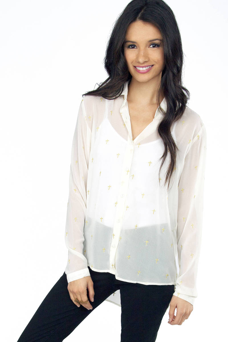 Higher Power Button Front Blouse