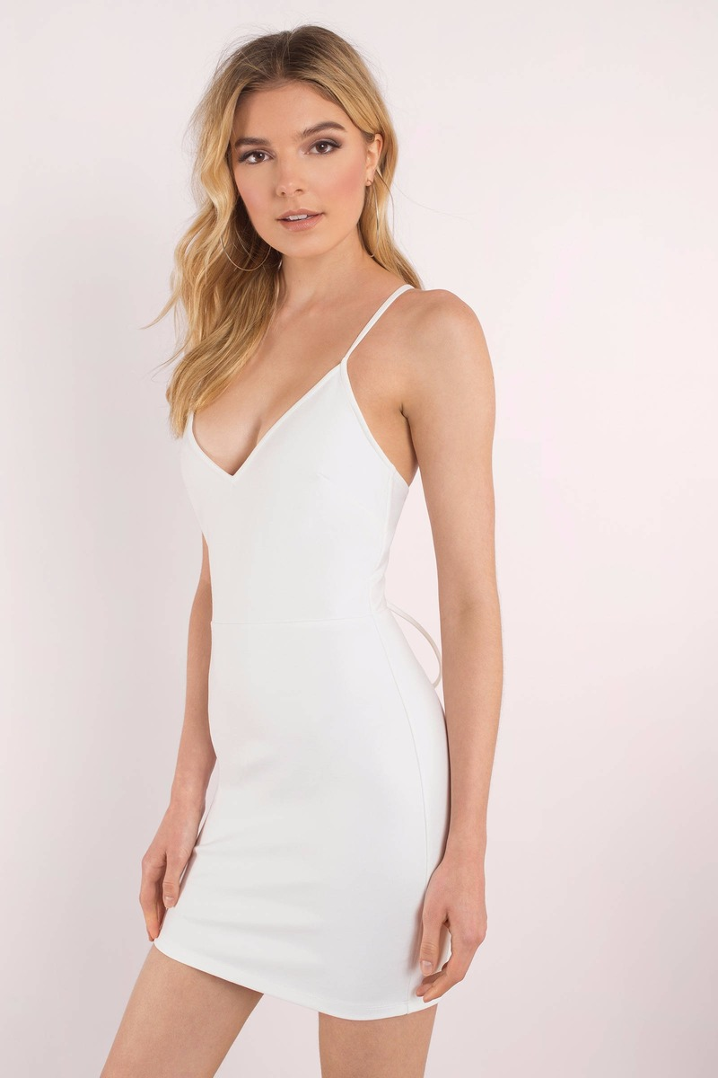 27349f34645 White Dress - Lace Up Dress - Mid Thigh White Dress - Bodycon Dress ...
