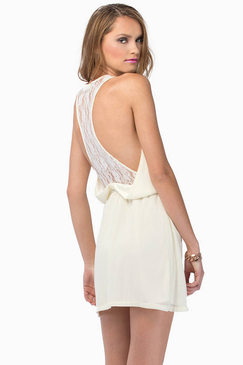 In Between Ivory Lace Skater Dress