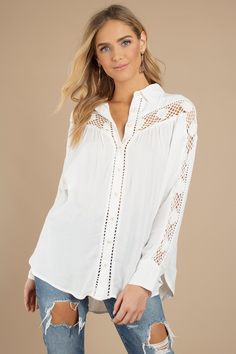 3c56001890fe6c White Free People Shirt - Crochet Insert Top - White Button Down Top ...
