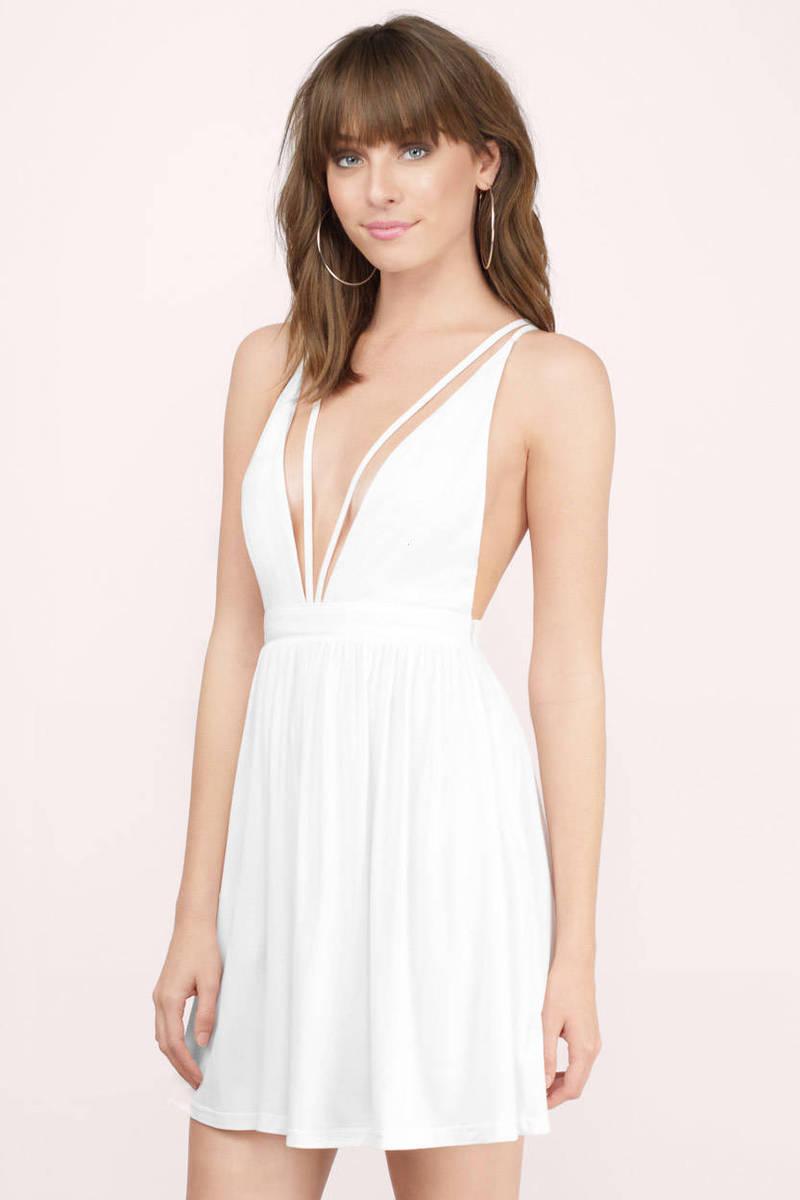 White Casual Dress - Skater Dress - White Strappy Dress - $23 | Tobi US