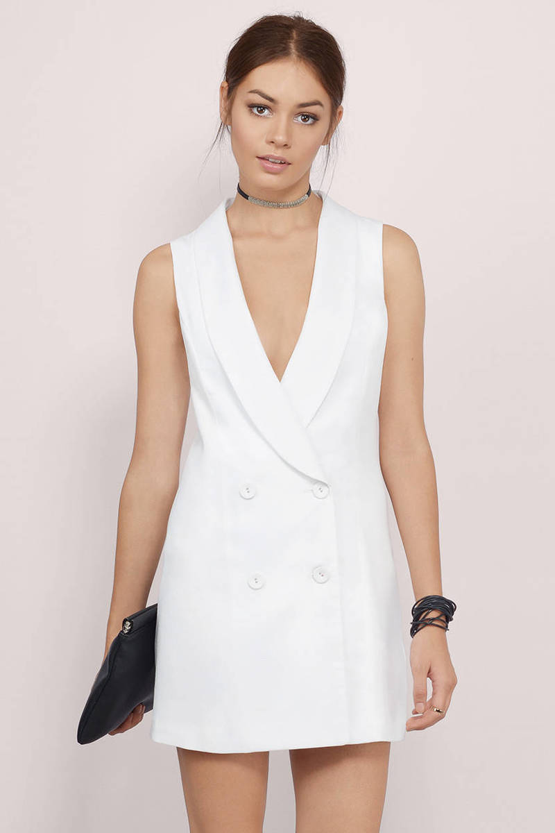 Ladies And Gents Tuxedo Ivory Buttoned Plunging Wrap Dress