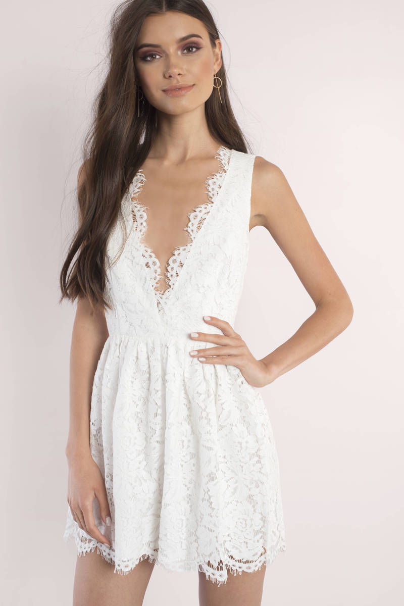 27eac318450 Cute Skater Dress - Scalloped Dress - Ivory Lace Overlay Dress -  29 ...