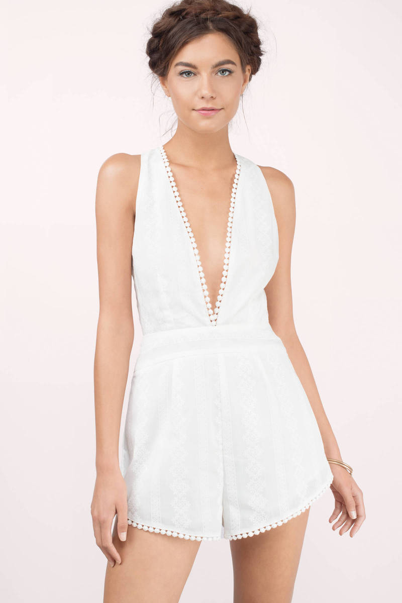 Levels To Your Love Ivory Printed Romper