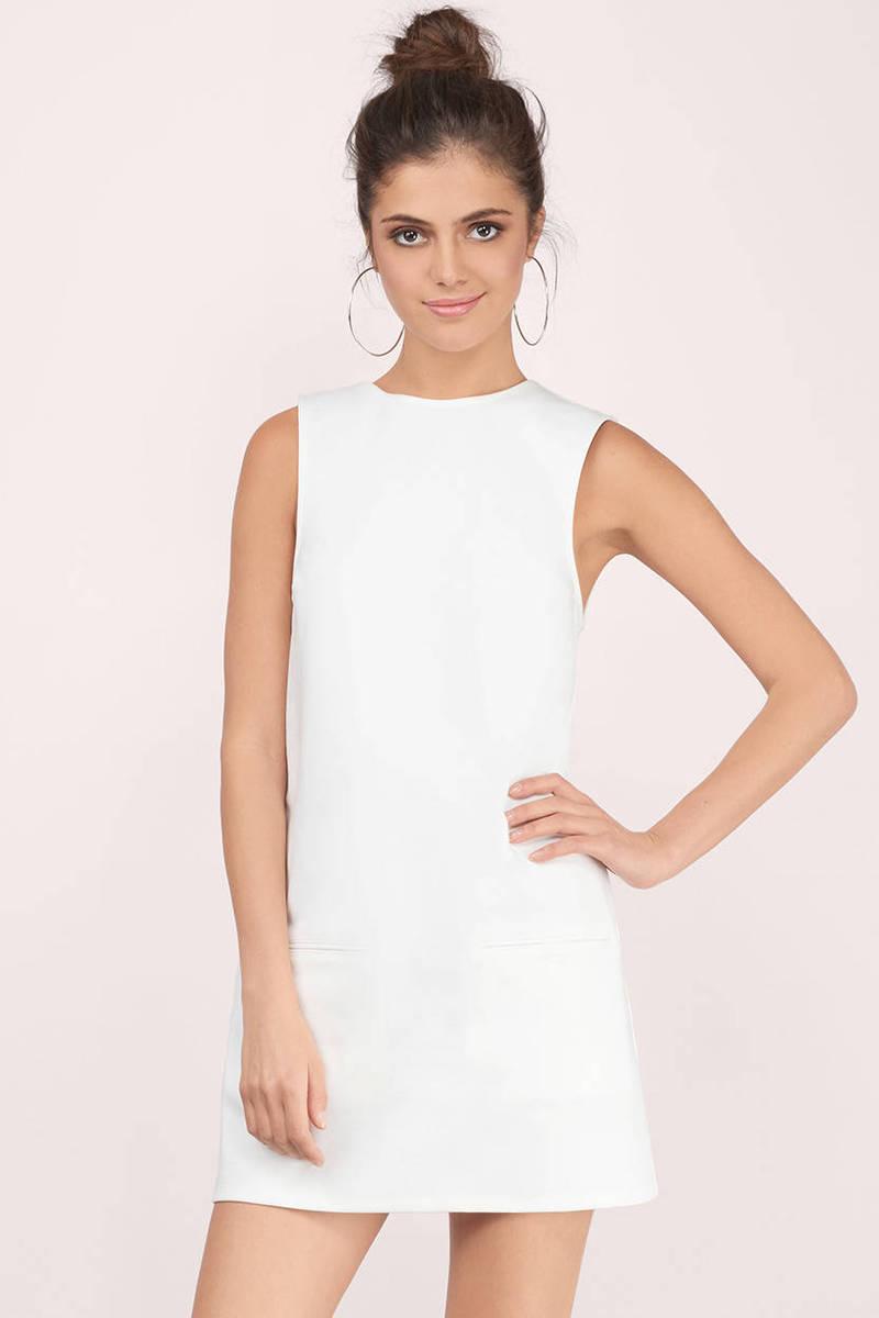 6f0a1060e02 White Shift Dress - Low Back Mini Dress - White High Neck Dress ...