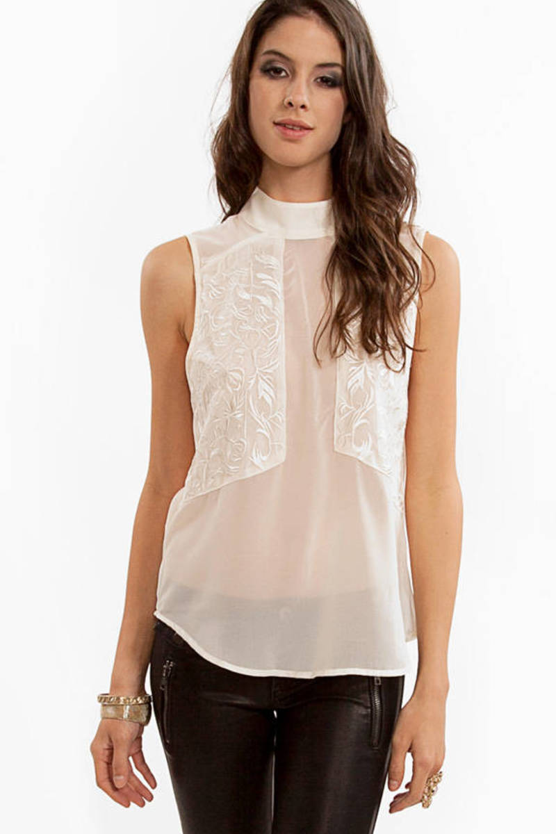 Lunesta Sleeveless Embroidery Top