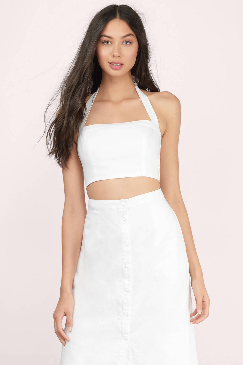 Lydia Navy Linen Crop Top