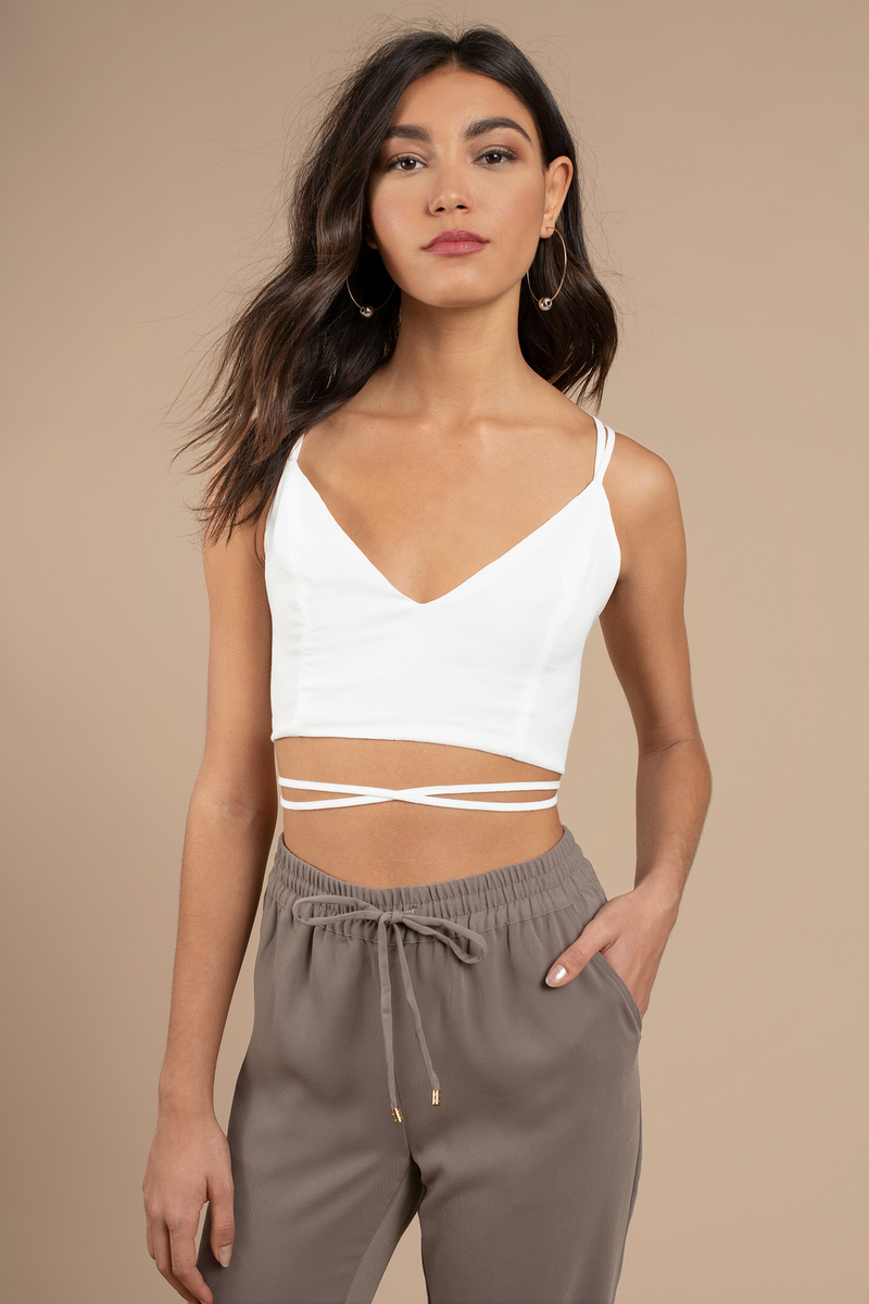 c008fa346de White Going Out Top - Strappy Top - White Wrap Around Crop Top - $8 ...