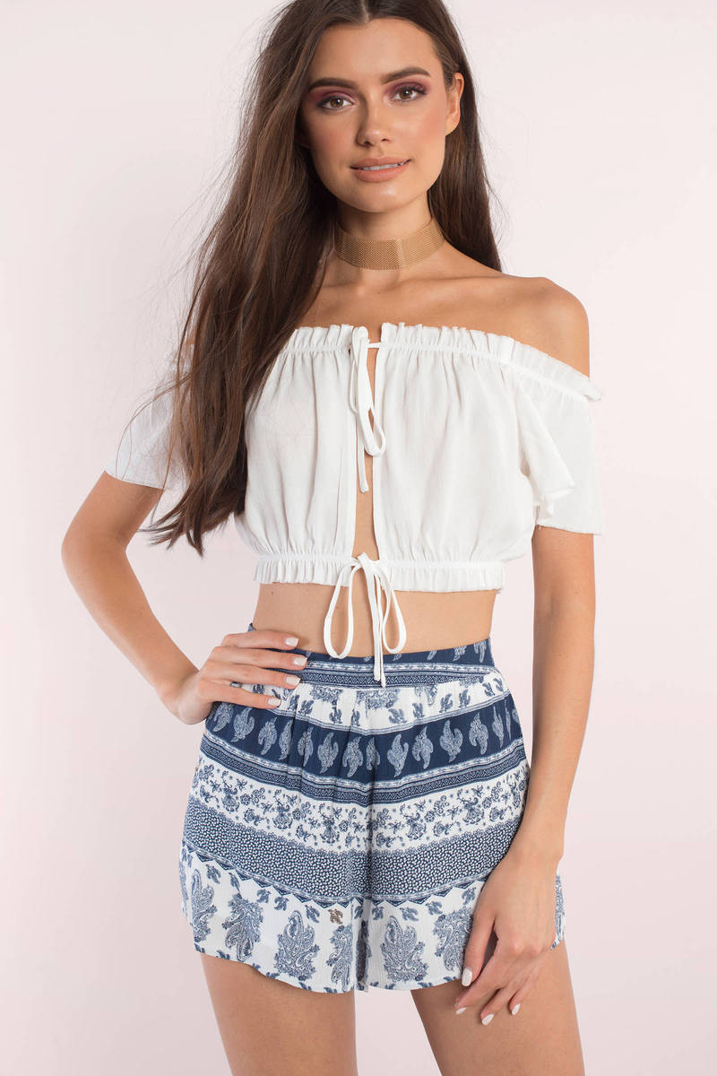 743e3e3bb0d087 Cute Ivory Top - Off Shoulder Top - Ivory Top - Ivory Crop Top -  10 ...