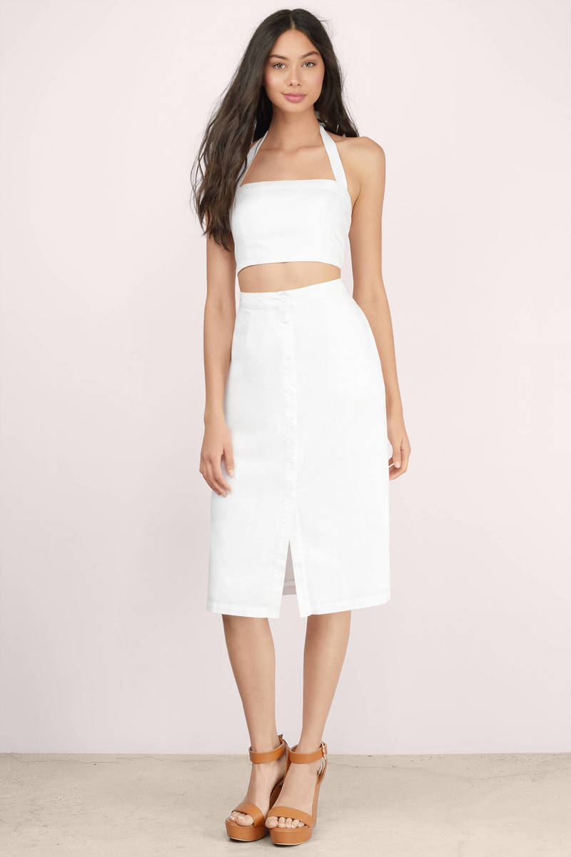 Meadows Ivory Linen Midi Skirt