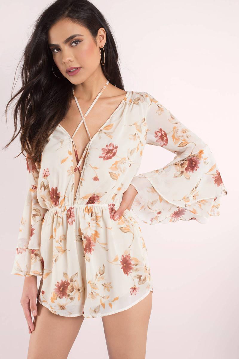 Melody Ivory Floral Print Romper