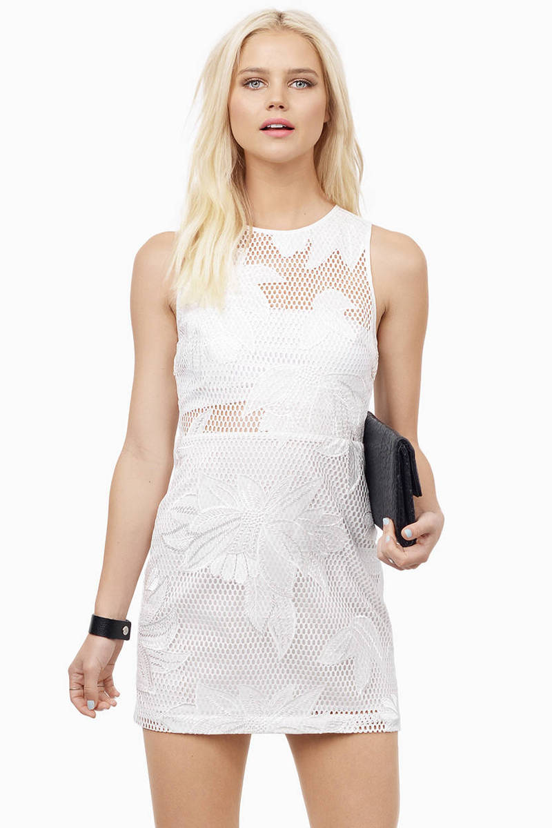 Mesh With It Ivory Floral Print Mesh Bodycon Dress