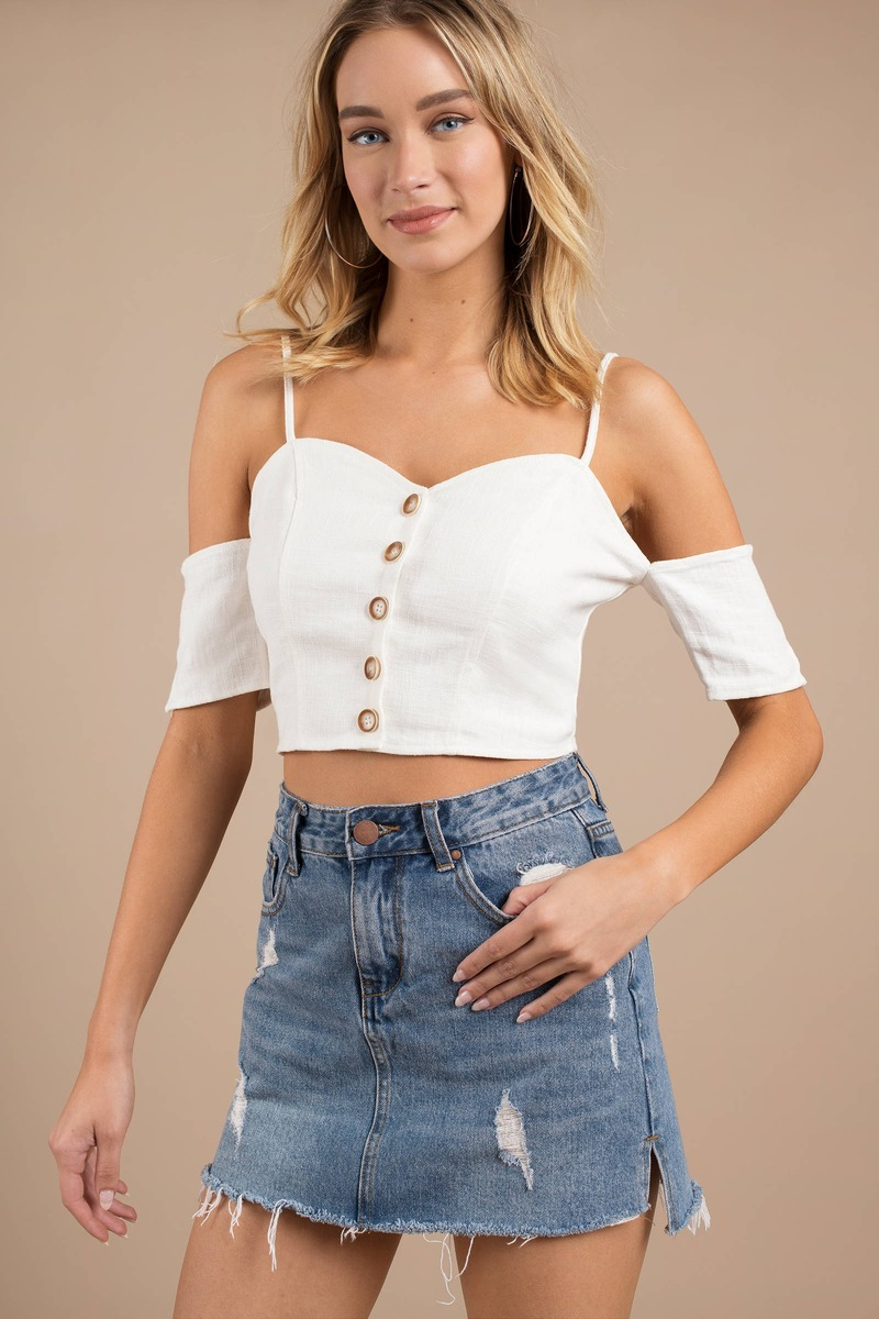 83f57827ee199 Moon River Crop Top - Cold Shoulder Top - White Button Up Top - £36 ...