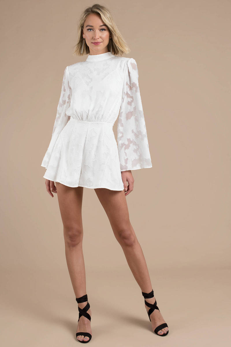 cb646d00471 White Finders Keepers Romper - Lace Romper - White Mock Neck Romper ...